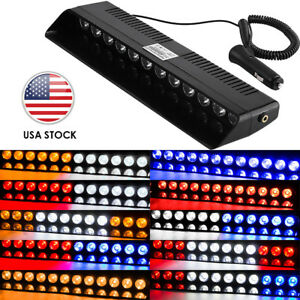 12 Led Car Emergency Warning Beacon Strobe Light Bar Windshield Dash Hazard Lamp