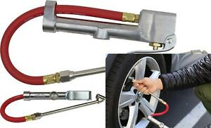 Dual Head Tire Inflator Gauge With Air Hose Dual Head Chuck Commercial Grade New