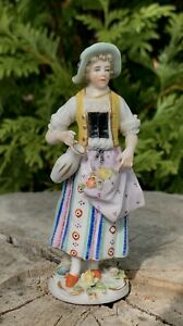 Antique Hand Painted German Porcelain Lady With Flowers Small Figurine