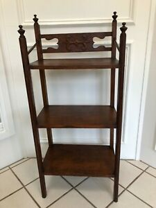 Antique Arts Crafts Dark Oak 3 Shelf Bookcase Book Shelf Hand Carving