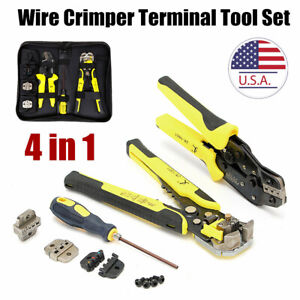 4 In 1 Multi Wire Crimper Tools Set Engineering Ratchet Terminal Crimping Plier