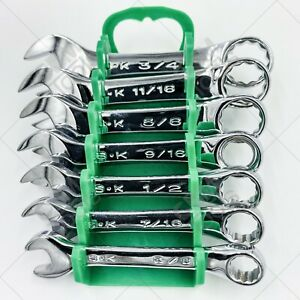 Sk Hand Tools 86237 7pc 12pt Fractional Stubby Combination Wrench Set