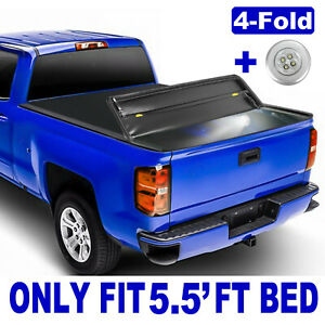 Truck Tonneau Cover For 2014 2020 Toyota Tundra W Led Lamp 4 Fold 5 5 Feet Bed