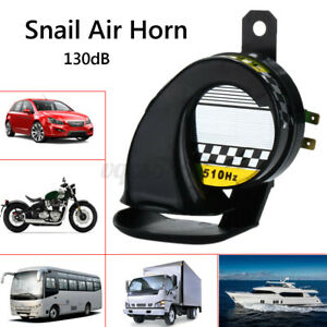 Universal Dc 12v 130db Loud Motorcycle Truck Car Snail Air Horn Siren Black Usa