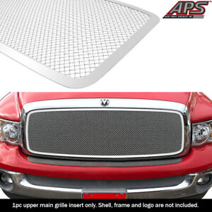 Fits 2002 2005 Dodge Ram 1500 2500 3500 Main Upper Stainless Chrome Mesh Grille