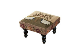 Primitive Colonial Willow Sheep Hooked Foot Stool Free Shipping