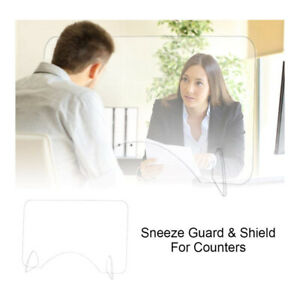 Sneeze Guard Clear Acrylic Protector Barrier Desk Checkout Countertop Shield