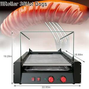 30 Hot Dogs Machine Commercial Electric 11 Roller Grill Cooker cover 1650w Us
