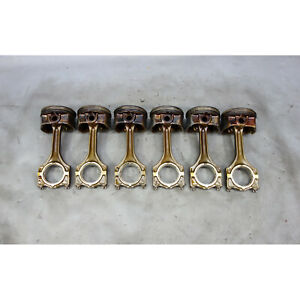 Bmw E46 3 Series X3 3 0l M54 6 Cylinder Piston And Connecting Rod Set Of Six Oem