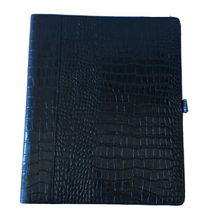 Franklin Covey Monarch Full Grain Leather Croc Wire Bound Folio Planner Cover