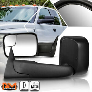 For 94 02 Dodge Ram 1500 2500 3500 Manual Telescoping Black Towing Mirror Pair