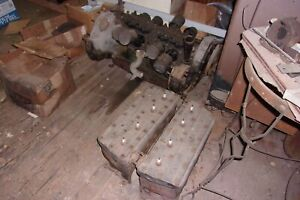 1935 Cadillac V 8 Engine With Cylinder Blocks heads Clutch Assembly No Cracks