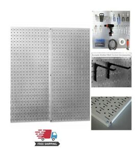 Metal Wall Pegboard 2 Pack Peg Board Panel Organizer Shelf Display Tools Garage