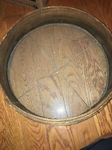 Old Farm Primitive Antique 16 Grain Sieve Bentwood Sifter