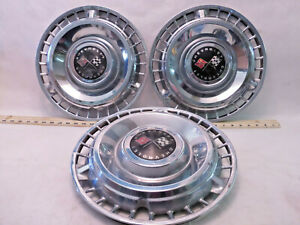 Lot Of 3 1961 61 Chevy Impala Bel Air Vintage Hubcaps Org Chevrolet K1