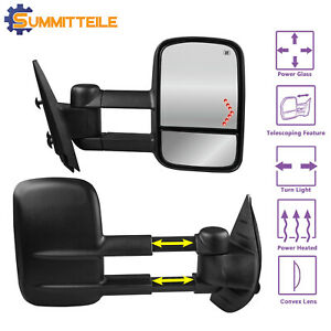 Power Heated Towing Mirrors Led Signal For 07 13 Chevy Silverado Gmc Sierra 1500