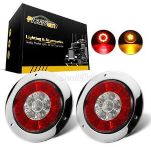 2pcs 4 Round Red amber 16 Led Truck Trailer Brake Stop Turn Signal Tail Lights