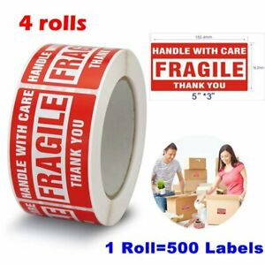 4 Rolls 500 rol 3x5 Fragile Sticker Handle With Care Shipping Mailing Label Usa