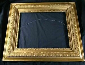 Lg Wooden Picture Frame Gold Antique Ornate W Gesso Damage For Pickup