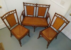 Grange Malmaison Set Of Two Seat Bench Two Side Chairs Bamboo France