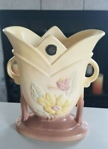 Vintage Hull Tulip Shaped Vase Rare with decal sticker Pink Yellow Green