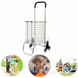 6 Wheels Folding Shopping Cart Large Size Basket Laundry Grocery Travel Climbing