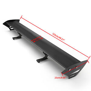 Universal Hatch Aluminum Gt Rear Trunk Wing Racing Spoiler Black New Usa