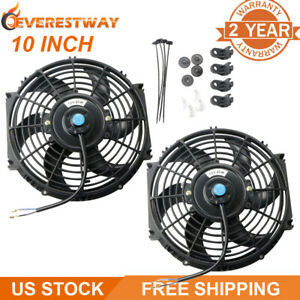 Pair 10 Inch Universal Electric Radiator Cooling Fan Kit Pull Push 12v Black New