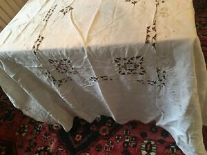 Vintage Linen Tablecloths Cutwork Crocheted Banquet Size Set Of 2