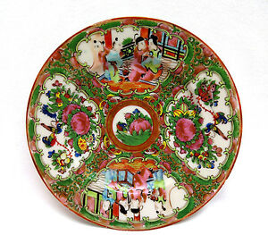 Antique Chinese Export Porcelain Plate Canton Famille Rose Late Qing Excellent