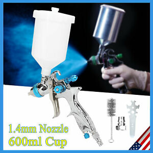 Gravity Feed Mini Hvlp Car Paint Air Spray Gun With 1 4mm Nozzle 600ml Cup Usa