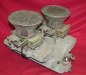 Vintage Weiand Big Block Chevy Crossram Holley Carbs 396 427 454 Rat Rod Bbc