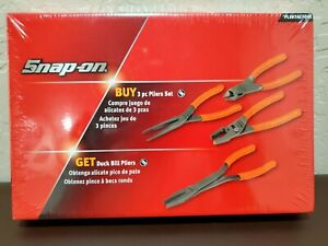 Snap On New 4 Piece Pliers Set Never Been Open Sealed In Box Orange Colored
