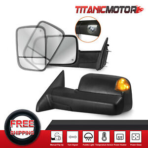 Pair Power Heated Towing Mirrors For 2009 2018 Dodge Ram W Temperature Sensor