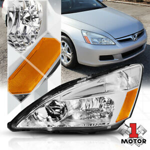 Left Lh Driver Side Chrome Headlight Head Lamp Assembly For 03 07 Honda Accord