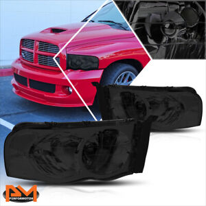 For 02 05 Dodge Ram 1500 3500 Smoked Housing Headlight Clear Corner Signal Lamps