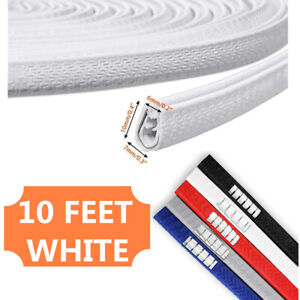 White 10 Feet Car Door Trim Strip Edge Guard Moulding Rubber Seal Protector