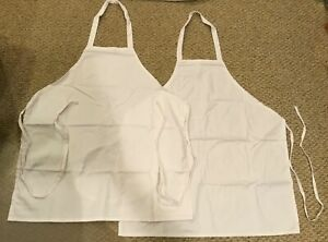 Lot 2 Chef Bib Apron Full Size White Professional Quality Uncommon Threads