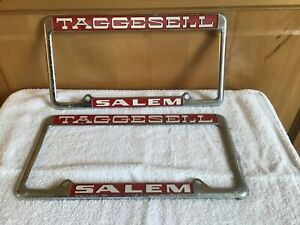 Wow Taggesell Salem Oregon License Plate Covers Metal Chrome Pair Pontiac 60 s