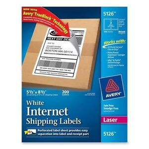 200 Avery Mailing Internet Shipping Labels 5 1 2 X 8 1 2 White 200 Count Laser