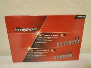Snap On Tools 3 8 Drive Sae Metric Short Hex Bit Socket Set New Sealed In Box