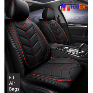 Us Car Seat Cover Set Pu Leather Cushion Embroidery Universal For Bmw 3 5 Series