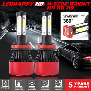 4 Side H11 H8 H9 Led Headlight Bulbs 60w 7600lm Hi Low Beam Conversion Fog Light