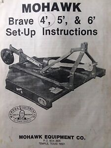 Mohawk Brave 4 5 6 3 point Hitch Tractor Brush Field Mower Owner Parts Manual