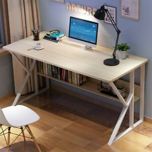 Computer Table Modern Desk Home Office Study Workstation Writing Furniture Shelf