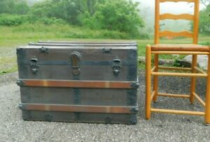 Antique 1890s Wood Slat Steamer Chest Trunk 33 X19x21t