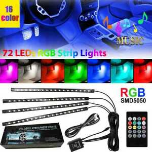 4pcs 72 Led Car Interior Usb Music Light Lights Strip Wireless Ir Remote Control