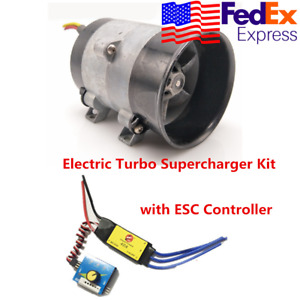 Car Electric Turbocharger Turbo Boost Air Fan 12v W Electronic Speed Control Us