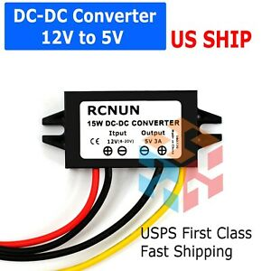 Waterproof Dc dc Converter 12v Step Down To 5v Power Supply Module 3a 15w Black