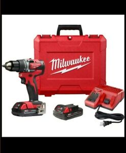 Milwaukee 2607 22 M18 Red Lithium 1 2 inch Compact Hammer Drill driver Kit
